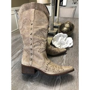 Cowgirl distressed boots, bead embellished